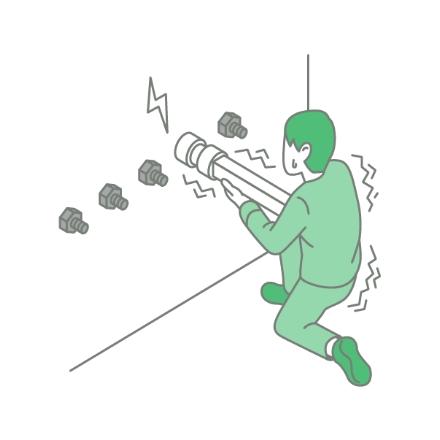 締付作業でナットランナーの反力がある(軽く回せるようにしたい)